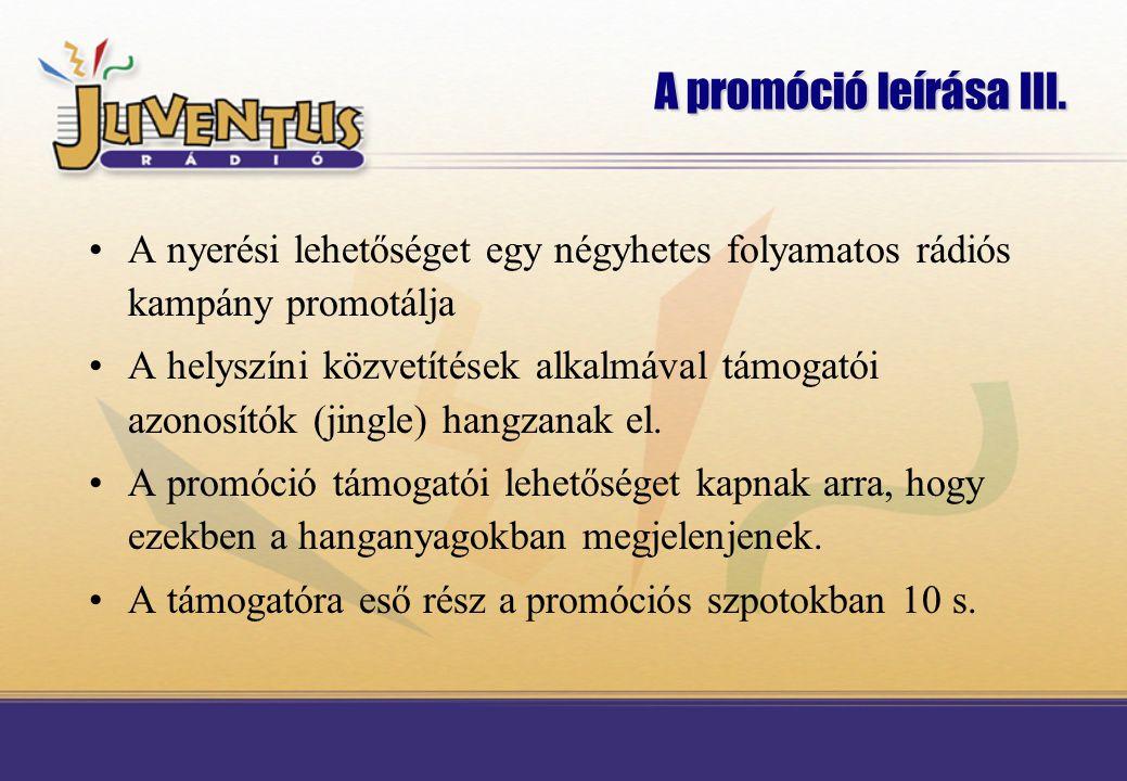 A promóció leírása II. Az élő közvetítésekhez nagyszabású rádiós promóció kapcsolódik.