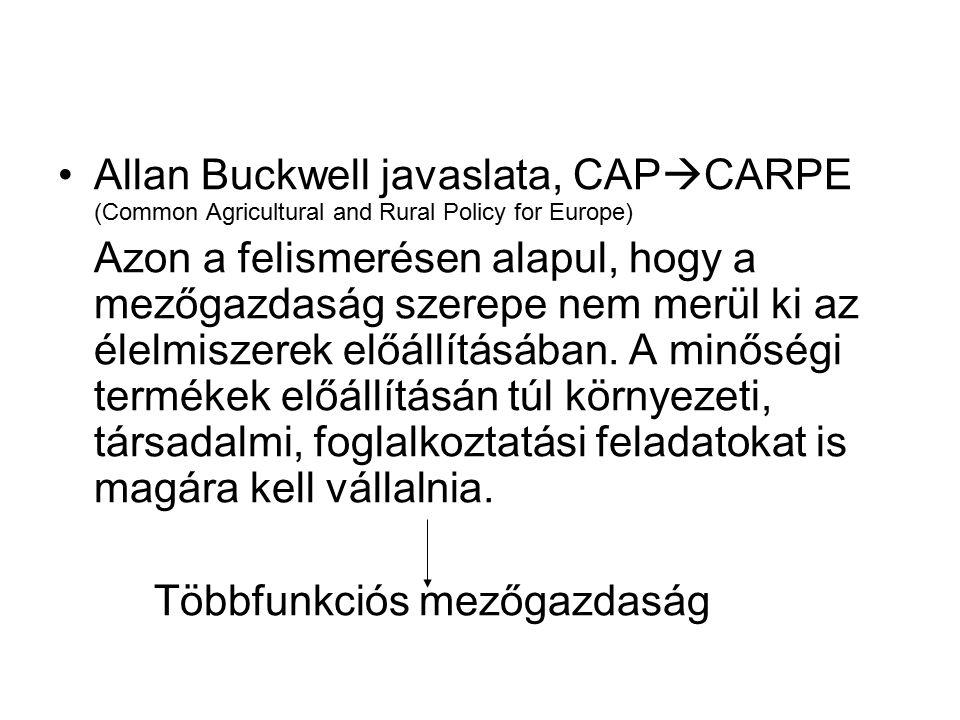 Allan Buckwell javaslata, CAP  CARPE (Common Agricultural and Rural Policy for Europe) Azon a felismerésen alapul, hogy a mezőgazdaság szerepe nem me