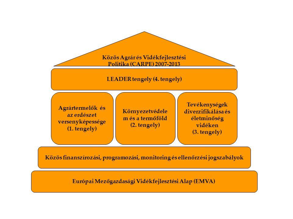 Agrártermelők és az erdészet versenyképessége (1. tengely) Környezetvédele m és a termőföld (2. tengely) Tevékenységek diverzifikálása és életminőség