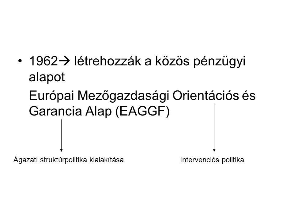 1962  létrehozzák a közös pénzügyi alapot Európai Mezőgazdasági Orientációs és Garancia Alap (EAGGF) Intervenciós politikaÁgazati struktúrpolitika ki