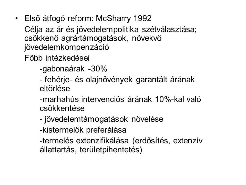 Első átfogó reform: McSharry 1992 Célja az ár és jövedelempolitika szétválasztása; csökkenő agrártámogatások, növekvő jövedelemkompenzáció Főbb intézk