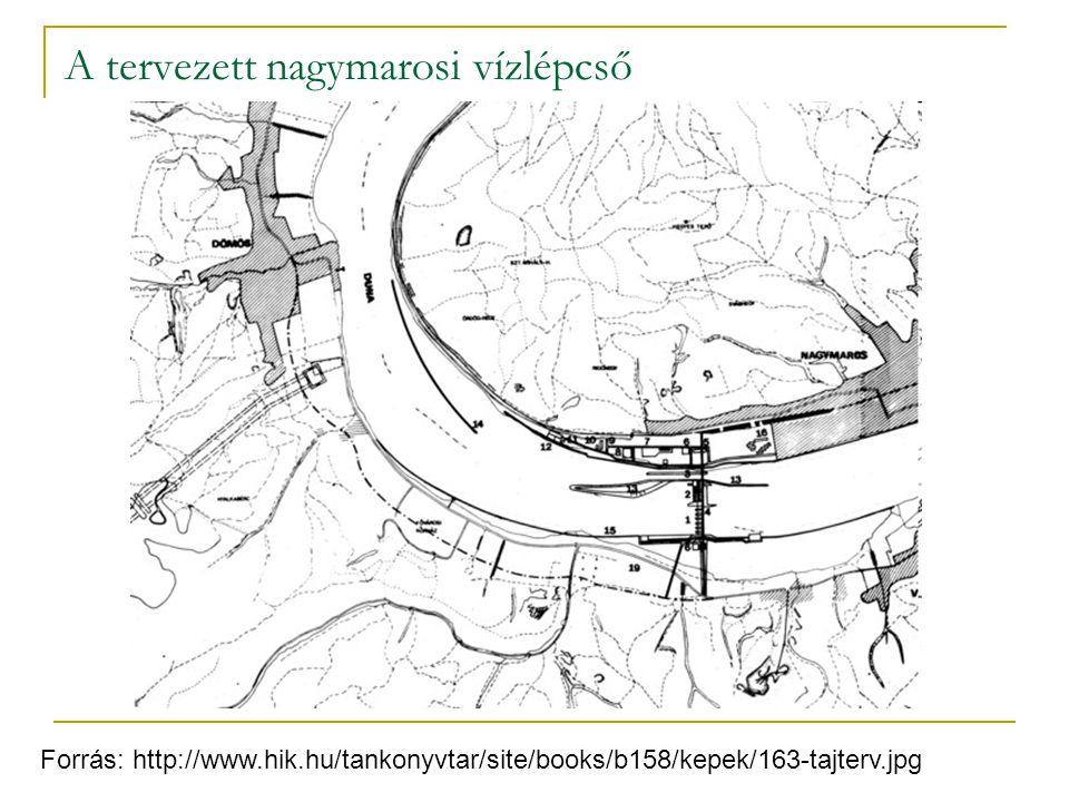 A tervezett nagymarosi vízlépcső Forrás: http://www.hik.hu/tankonyvtar/site/books/b158/kepek/163-tajterv.jpg