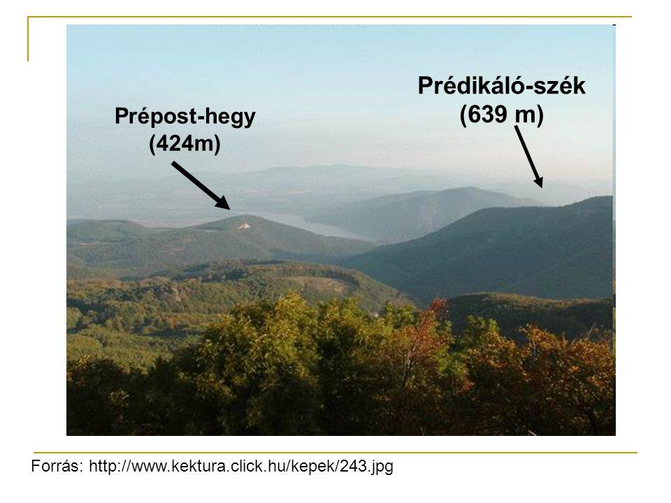 Prédikáló-szék (639 m) Prépost-hegy (424m) Forrás: http://www.kektura.click.hu/kepek/243.jpg