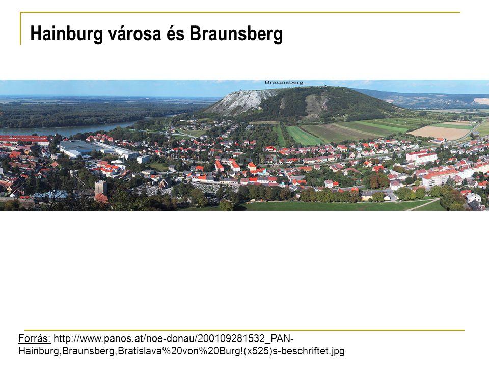 Hainburg városa és Braunsberg Forrás: http://www.panos.at/noe-donau/200109281532_PAN- Hainburg,Braunsberg,Bratislava%20von%20Burg!(x525)s-beschriftet.