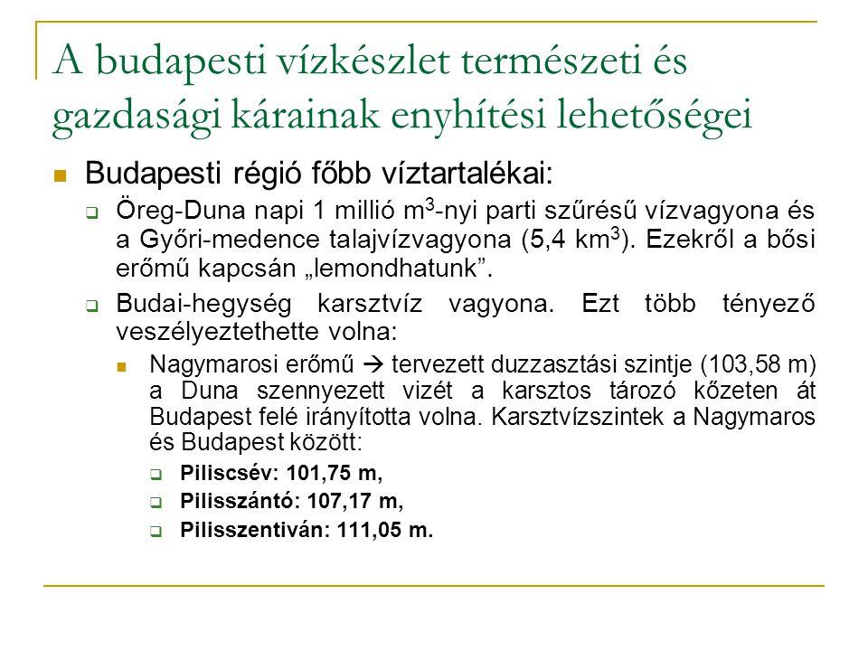A budapesti vízkészlet természeti és gazdasági kárainak enyhítési lehetőségei Budapesti régió főbb víztartalékai:  Öreg-Duna napi 1 millió m 3 -nyi p