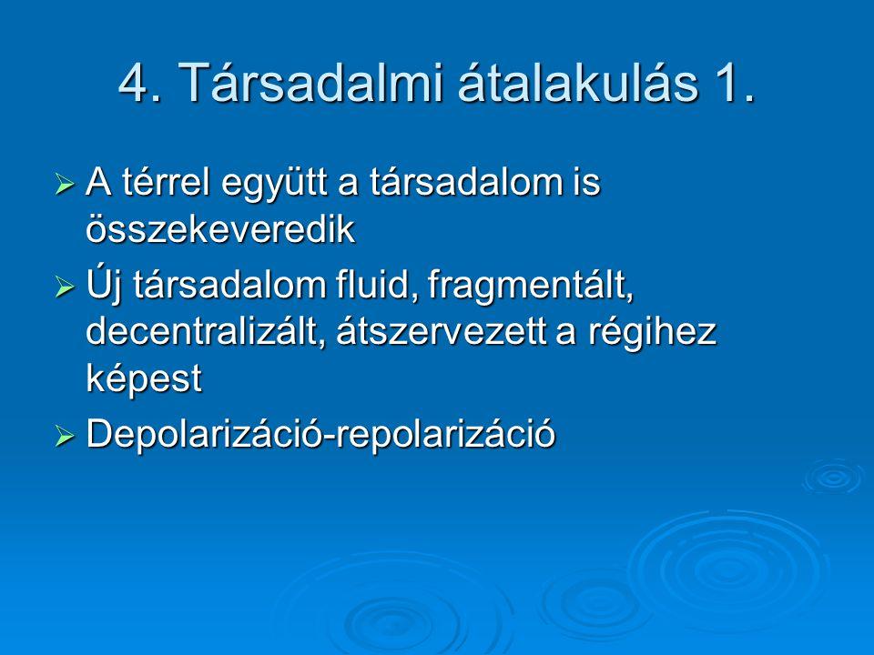 4. Társadalmi átalakulás 1.  A térrel együtt a társadalom is összekeveredik  Új társadalom fluid, fragmentált, decentralizált, átszervezett a régihe