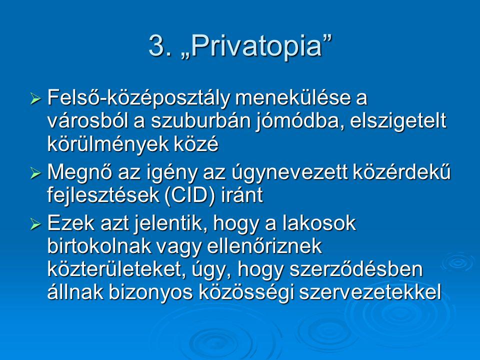 """3. """"Privatopia""""  Felső-középosztály menekülése a városból a szuburbán jómódba, elszigetelt körülmények közé  Megnő az igény az úgynevezett közérdekű"""