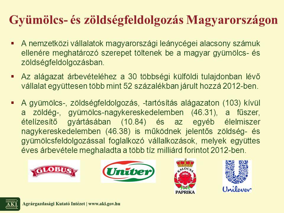 Gyümölcs- és zöldségfeldolgozás Magyarországon  A nemzetközi vállalatok magyarországi leánycégei alacsony számuk ellenére meghatározó szerepet töltenek be a magyar gyümölcs- és zöldségfeldolgozásban.