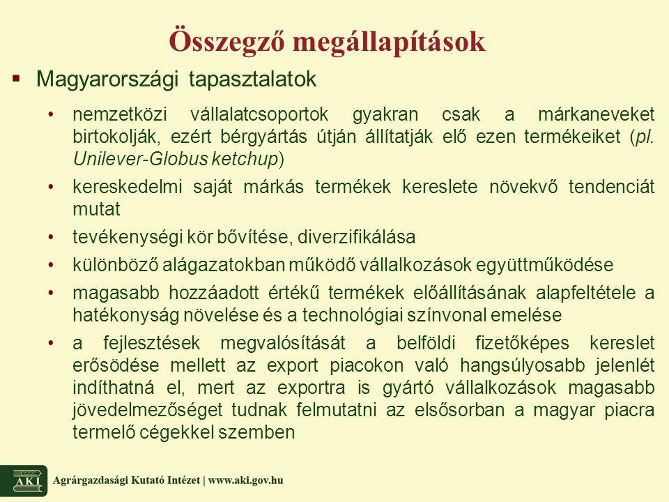Összegző megállapítások  Magyarországi tapasztalatok nemzetközi vállalatcsoportok gyakran csak a márkaneveket birtokolják, ezért bérgyártás útján állítatják elő ezen termékeiket (pl.