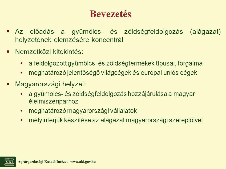 Bevezetés  Az előadás a gyümölcs- és zöldségfeldolgozás (alágazat) helyzetének elemzésére koncentrál  Nemzetközi kitekintés: a feldolgozott gyümölcs- és zöldségtermékek típusai, forgalma meghatározó jelentőségő világcégek és európai uniós cégek  Magyarországi helyzet: a gyümölcs- és zöldségfeldolgozás hozzájárulása a magyar élelmiszeriparhoz meghatározó magyarországi vállalatok mélyinterjúk készítése az alágazat magyarországi szereplőivel