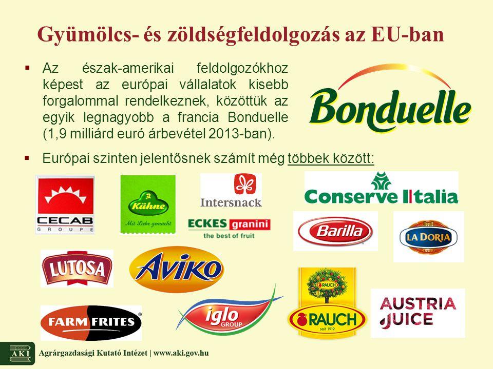 Gyümölcs- és zöldségfeldolgozás az EU-ban  Európai szinten jelentősnek számít még többek között:  Az észak-amerikai feldolgozókhoz képest az európai vállalatok kisebb forgalommal rendelkeznek, közöttük az egyik legnagyobb a francia Bonduelle (1,9 milliárd euró árbevétel 2013-ban).