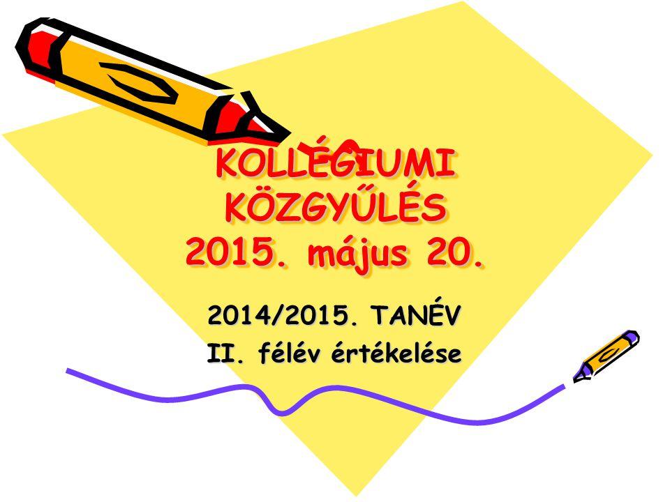 KOLLÉGIUMI KÖZGYŰLÉS 2015. május 20. 2014/2015. TANÉV II. félév értékelése