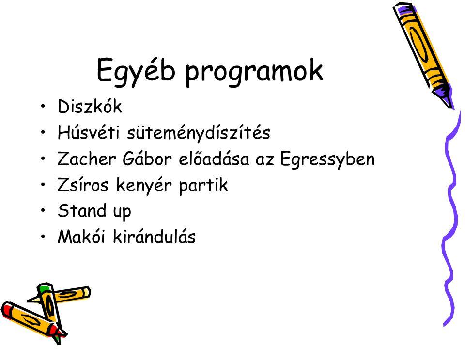 Egyéb programok Diszkók Húsvéti süteménydíszítés Zacher Gábor előadása az Egressyben Zsíros kenyér partik Stand up Makói kirándulás