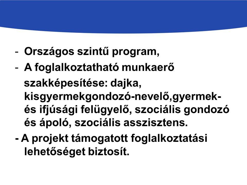 -Országos szintű program, -A foglalkoztatható munkaerő szakképesítése: dajka, kisgyermekgondozó-nevelő,gyermek- és ifjúsági felügyelő, szociális gondo