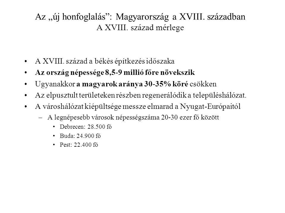 """Az """"új honfoglalás"""": Magyarország a XVIII. században A XVIII. század mérlege A XVIII. század a békés építkezés időszaka Az ország népessége 8,5-9 mill"""