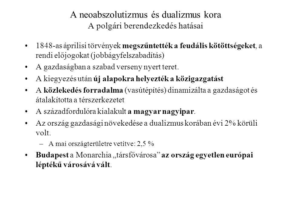 A neoabszolutizmus és dualizmus kora A polgári berendezkedés hatásai 1848-as áprilisi törvények megszűntették a feudális kötöttségeket, a rendi előjog