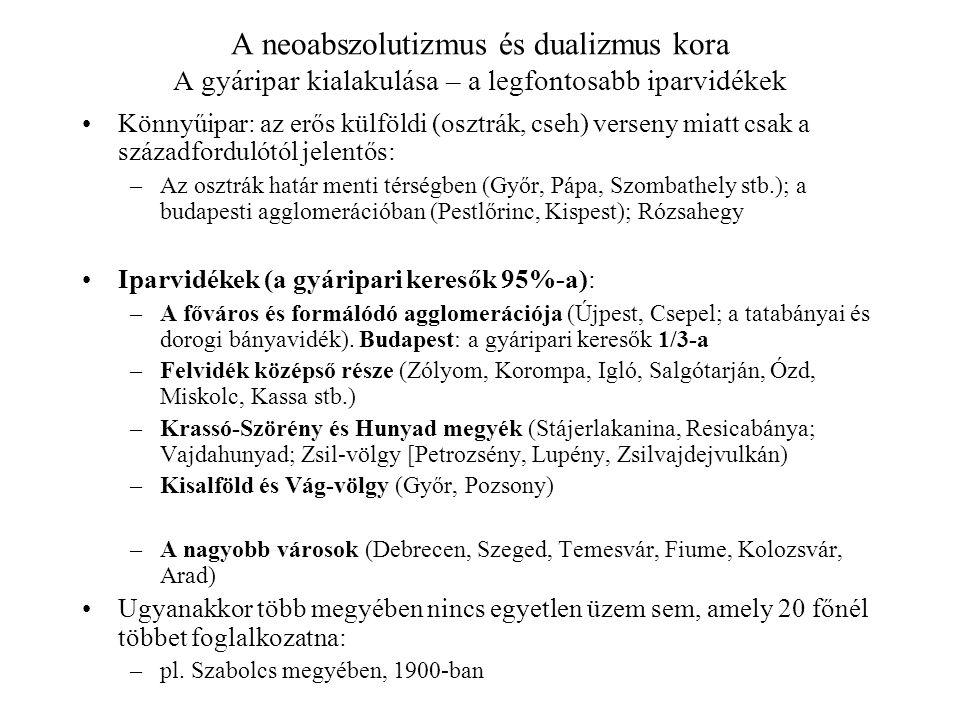 A neoabszolutizmus és dualizmus kora A gyáripar kialakulása – a legfontosabb iparvidékek Könnyűipar: az erős külföldi (osztrák, cseh) verseny miatt cs