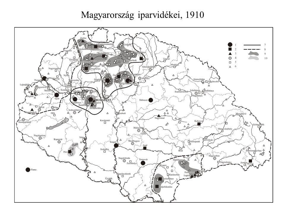 Magyarország iparvidékei, 1910