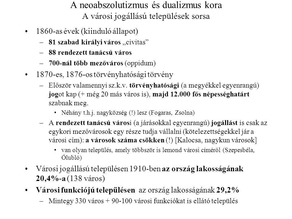"""A neoabszolutizmus és dualizmus kora A városi jogállású települések sorsa 1860-as évek (kiinduló állapot) –81 szabad királyi város """"civitas"""" –88 rende"""