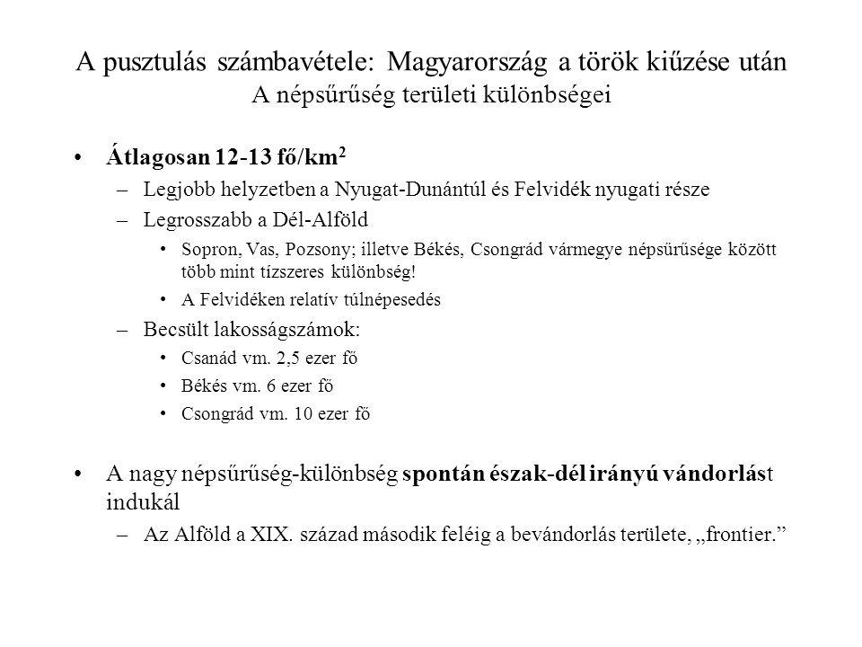 A pusztulás számbavétele: Magyarország a török kiűzése után A népsűrűség területi különbségei Átlagosan 12-13 fő/km 2 –Legjobb helyzetben a Nyugat-Dun