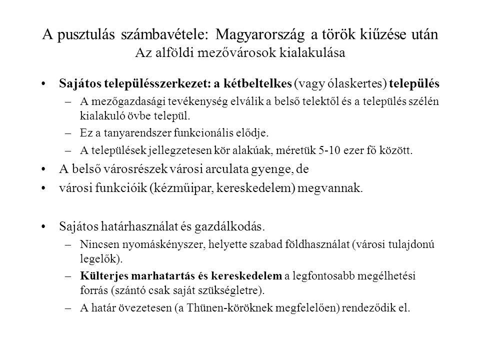 A pusztulás számbavétele: Magyarország a török kiűzése után Az alföldi mezővárosok kialakulása Sajátos településszerkezet: a kétbeltelkes (vagy ólaske