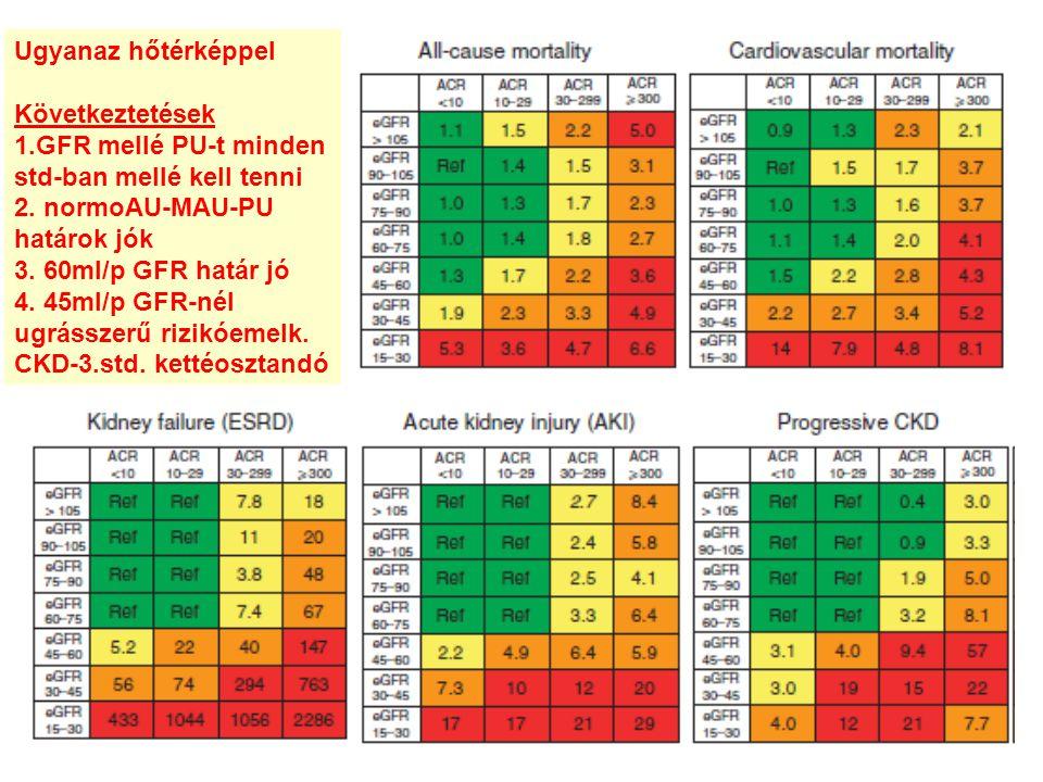 Ugyanaz hőtérképpel Következtetések 1.GFR mellé PU-t minden std-ban mellé kell tenni 2. normoAU-MAU-PU határok jók 3. 60ml/p GFR határ jó 4. 45ml/p GF