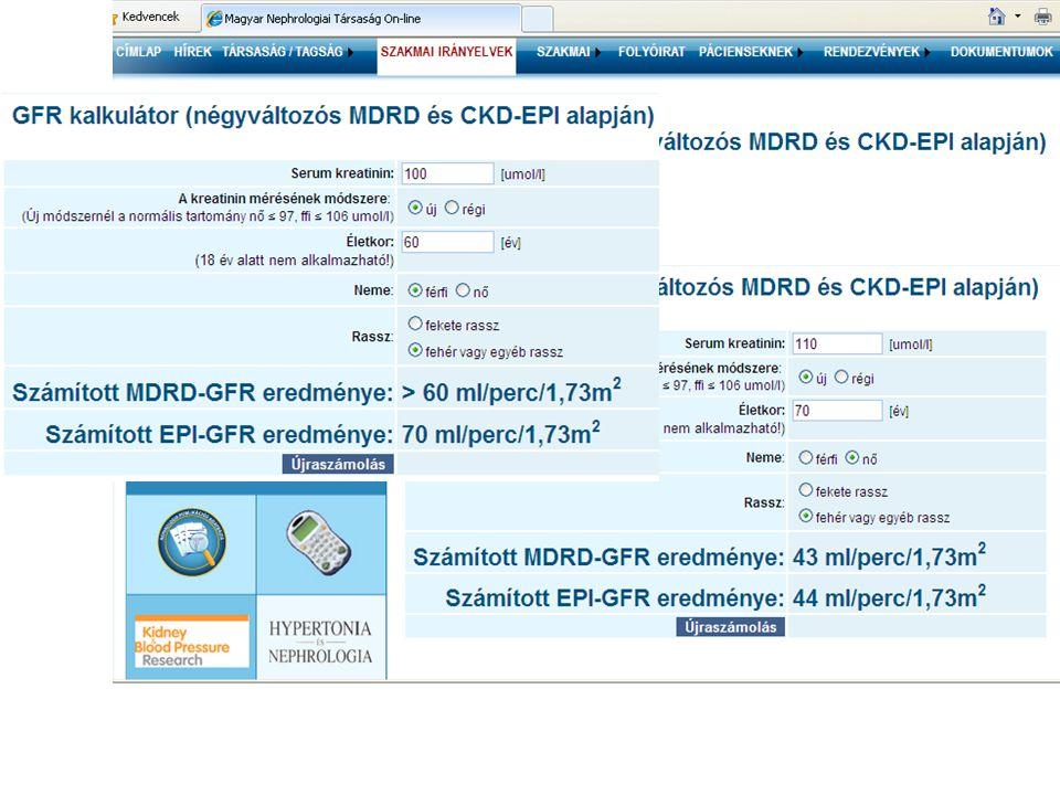 Jó a CKD eredeti, 2002-es GFR alapú beosztása.Jelzi a CV veszélyt, prognózis.