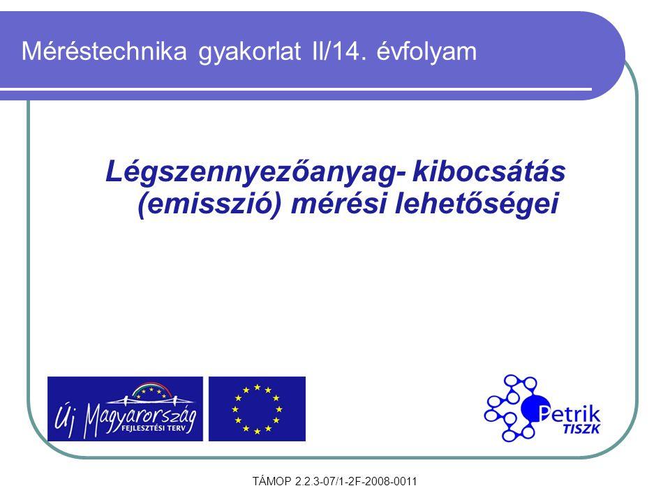 TÁMOP 2.2.3-07/1-2F-2008-0011 Méréstechnika gyakorlat II/14. évfolyam Légszennyezőanyag- kibocsátás (emisszió) mérési lehetőségei