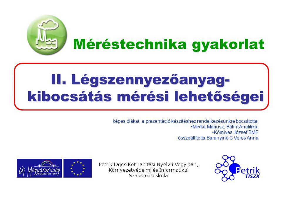 Méréstechnika gyakorlat II. Légszennyezőanyag- kibocsátás mérési lehetőségei Petrik Lajos Két Tanítási Nyelvű Vegyipari, Környezetvédelmi és Informati
