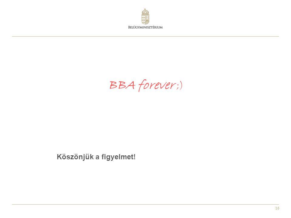 16 BBA forever ;) Köszönjük a figyelmet!