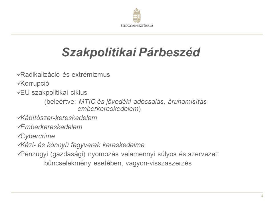4 Szakpolitikai Párbeszéd Radikalizáció és extrémizmus Korrupció EU szakpolitikai ciklus (beleértve: MTIC és jövedéki adócsalás, áruhamisítás emberker