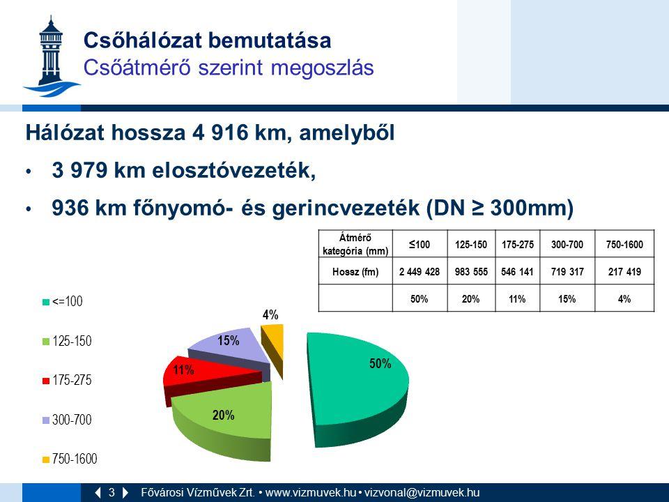 3 Csőhálózat bemutatása Csőátmérő szerint megoszlás Hálózat hossza 4 916 km, amelyből 3 979 km elosztóvezeték, 936 km főnyomó- és gerincvezeték (DN ≥