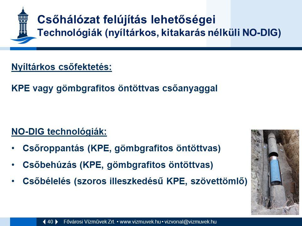 40 Csőhálózat felújítás lehetőségei Technológiák (nyíltárkos, kitakarás nélküli NO-DIG) Nyíltárkos csőfektetés: KPE vagy gömbgrafitos öntöttvas csőany