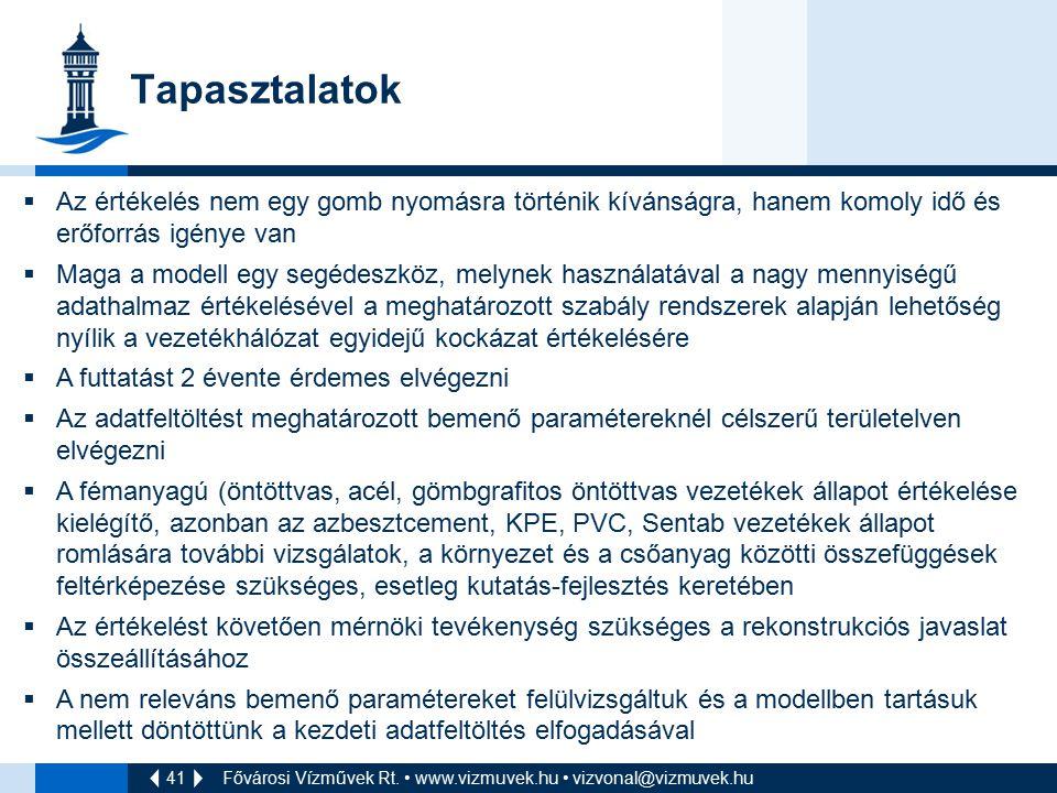41 Tapasztalatok Fővárosi Vízművek Rt. www.vizmuvek.hu vizvonal@vizmuvek.hu  Az értékelés nem egy gomb nyomásra történik kívánságra, hanem komoly idő