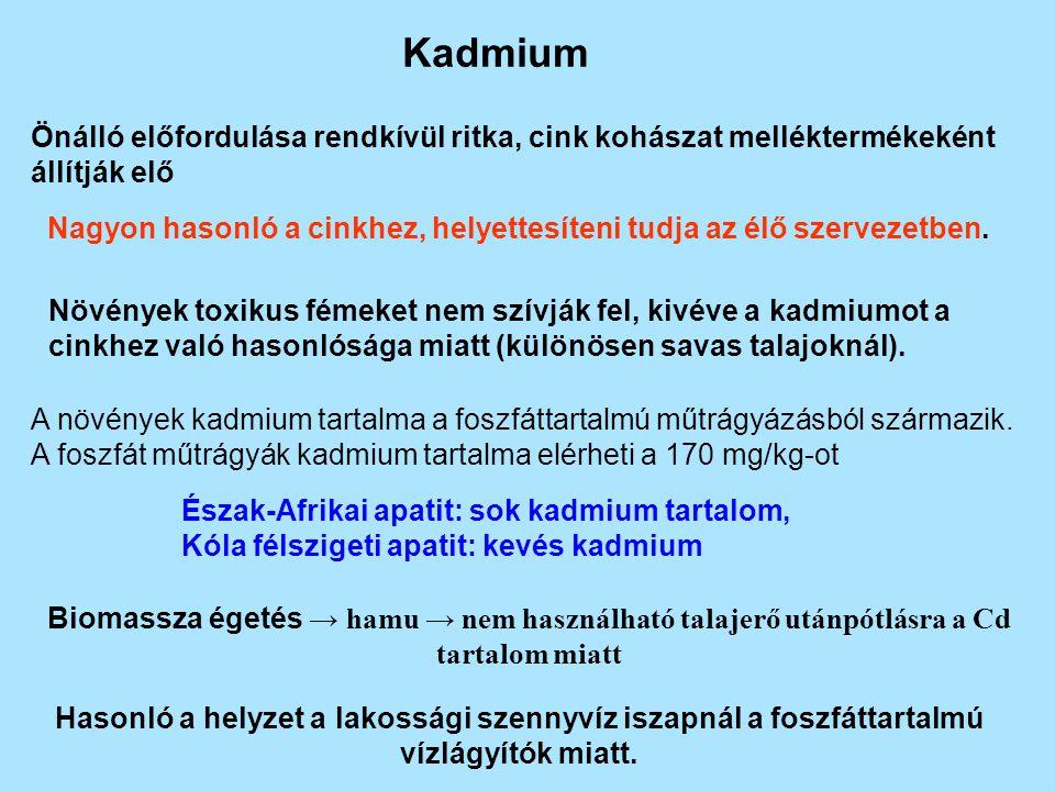Kadmium Önálló előfordulása rendkívül ritka, cink kohászat melléktermékeként állítják elő Nagyon hasonló a cinkhez, helyettesíteni tudja az élő szervezetben.