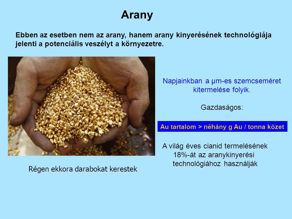 Arany Ebben az esetben nem az arany, hanem arany kinyerésének technológiája jelenti a potenciális veszélyt a környezetre. Régen ekkora darabokat keres
