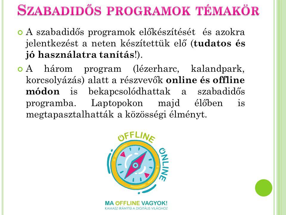 A szabadidős programok előkészítését és azokra jelentkezést a neten készítettük elő ( tudatos és jó használatra tanítás !). A három program (lézerharc