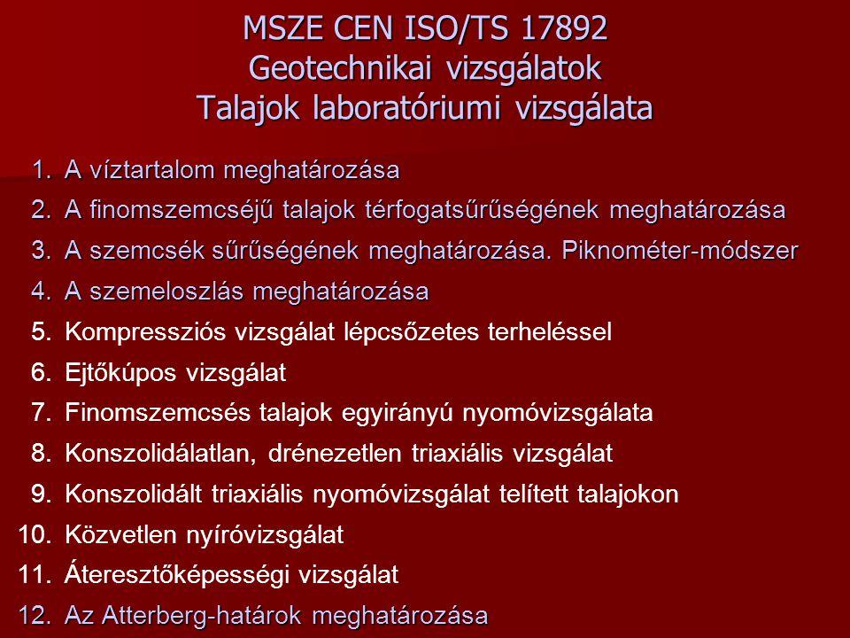 MSZE CEN ISO/TS 17892 Geotechnikai vizsgálatok Talajok laboratóriumi vizsgálata 1.