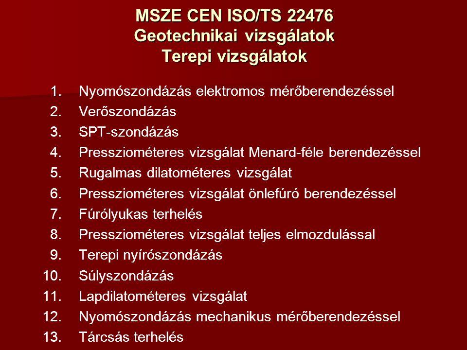 MSZE CEN ISO/TS 22476 Geotechnikai vizsgálatok Terepi vizsgálatok 1.