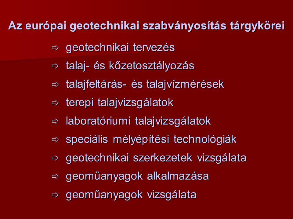 Az európai geotechnikai szabványosítás tárgykörei  geotechnikai tervezés  talaj- és kőzetosztályozás  talajfeltárás- és talajvízmérések  terepi talajvizsgálatok  laboratóriumi talajvizsgálatok  speciális mélyépítési technológiák  geotechnikai szerkezetek vizsgálata  geoműanyagok alkalmazása  geoműanyagok vizsgálata