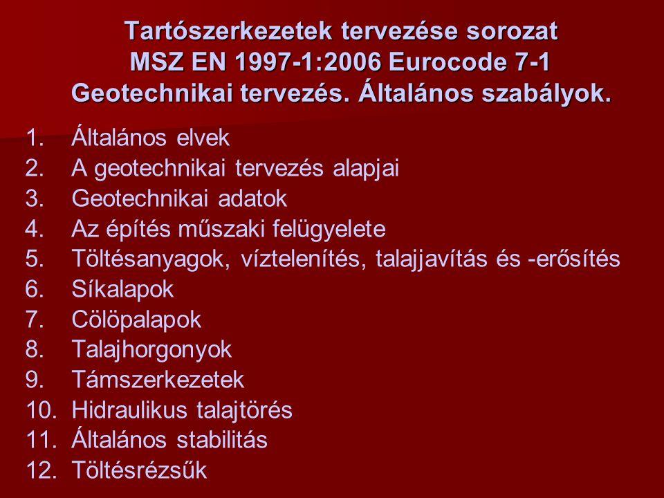 MSZ EN 1997-1:2006 nemzeti melléklete   Magyarországon alkalmazandó tervezési módszerek alapok, támszerkezetekbiztonság az ellenálláshoz rézsű- és ált.