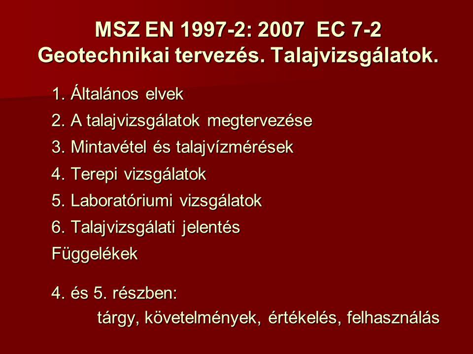 Geotextíliák és rokon termékeik alkalmazása MSZ EN 13249:2001 - utak és más közlekedési területek MSZ EN 13250:2001 - vasutak MSZ EN 13251:2001 - földmunkák és az alapozások MSZ EN 13252:2001 - vízelvezető rendszerek MSZ EN 13253:2001 - erózióvédelem MSZ EN 13254:2000 - víztározók és gátak MSZ EN 13255:2000 - csatornák MSZ EN 13255:2000 - csatornák MSZ EN 13255:2000 - alagutak és föld alatti műtárgyak MSZ EN 13257:2001 - szilárd hulladéklerakók MSZ EN 13267:2005 - folyékony hulladéklerakók