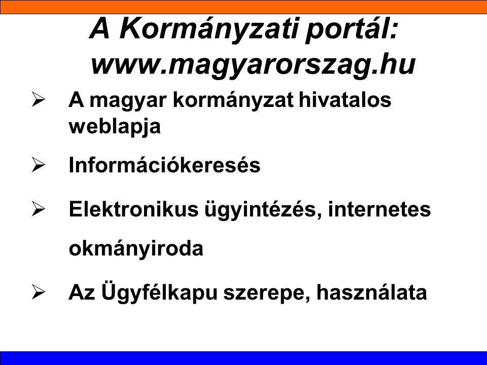 A Kormányzati portál: www.magyarorszag.hu  A magyar kormányzat hivatalos weblapja  Információkeresés  Elektronikus ügyintézés, internetes okmányiroda  Az Ügyfélkapu szerepe, használata