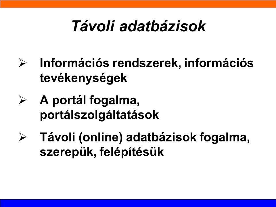 Távoli adatbázisok  Információs rendszerek, információs tevékenységek  A portál fogalma, portálszolgáltatások  Távoli (online) adatbázisok fogalma, szerepük, felépítésük