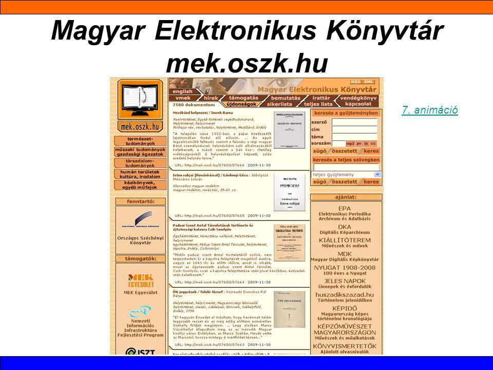 Magyar Elektronikus Könyvtár mek.oszk.hu 7. animáció