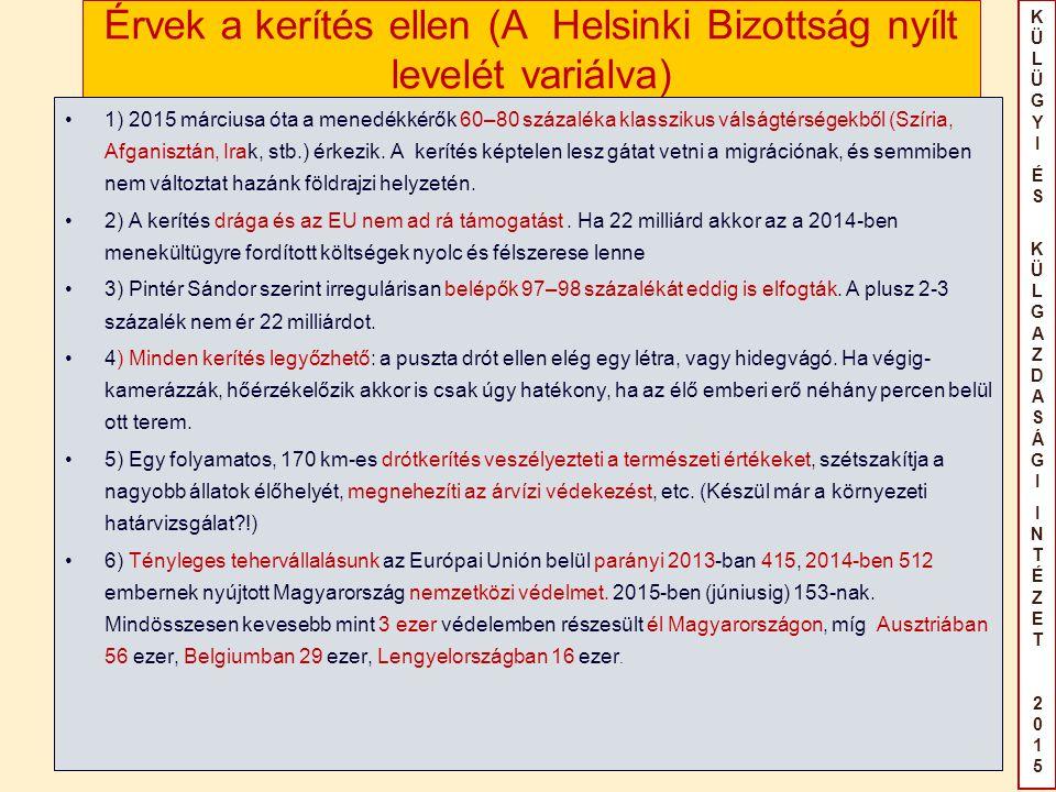 KÜLÜGYIÉS KÜLGAZDASÁGIINTÉZET2015KÜLÜGYIÉS KÜLGAZDASÁGIINTÉZET2015 Érvek a kerítés ellen (A Helsinki Bizottság nyílt levelét variálva) 1) 2015 március