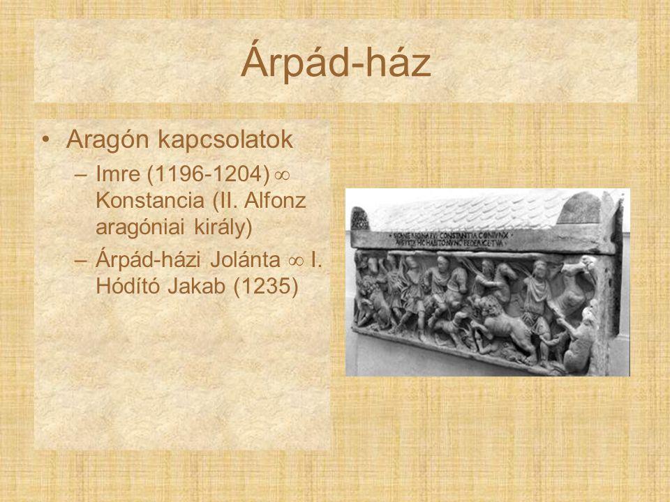 Árpád-ház Aragón kapcsolatok –Imre (1196-1204)  Konstancia (II. Alfonz aragóniai király) –Árpád-házi Jolánta  I. Hódító Jakab (1235)