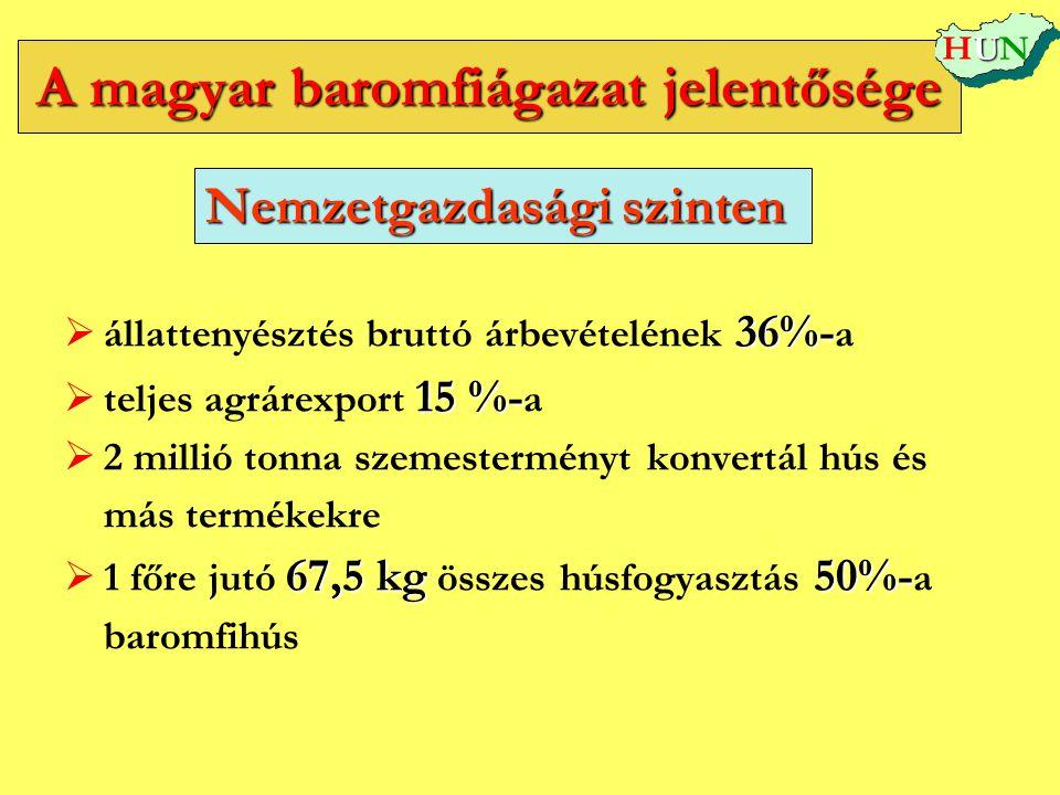 A magyar baromfiágazat jelentősége  36%-  állattenyésztés bruttó árbevételének 36%- a  15 %-  teljes agrárexport 15 %- a   2 millió tonna szemes