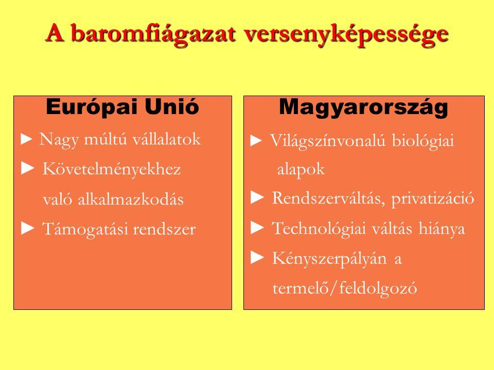 A baromfiágazat versenyképessége Európai Unió ► Nagy múltú vállalatok ► Követelményekhez való alkalmazkodás ► Támogatási rendszer Magyarország ► Világ