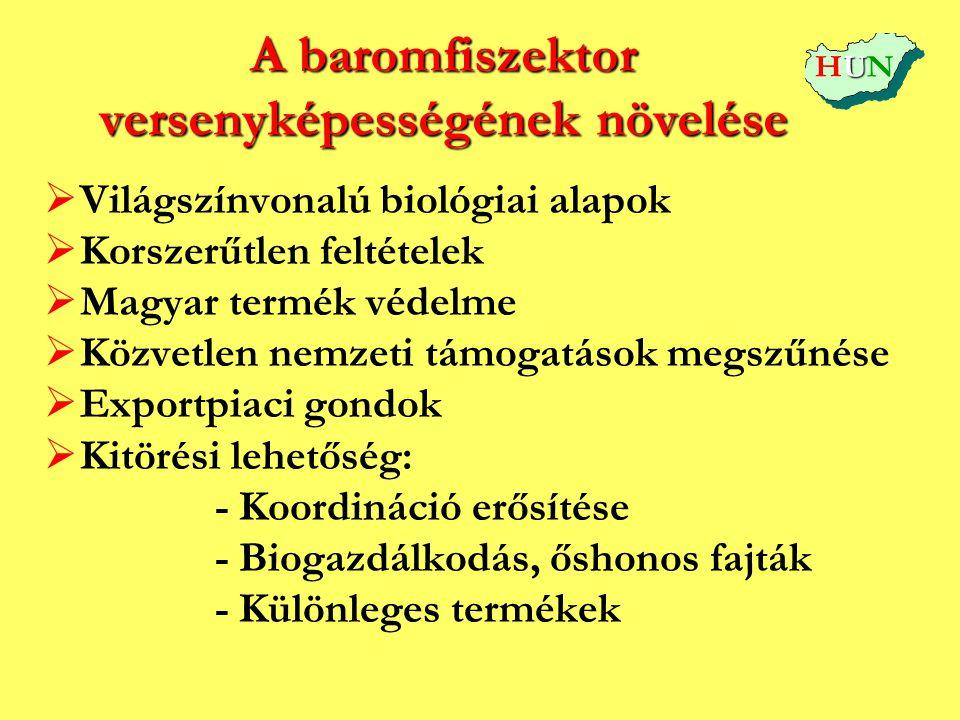 A baromfiszektor versenyképességének növelése   Világszínvonalú biológiai alapok   Korszerűtlen feltételek   Magyar termék védelme   Közvetlen
